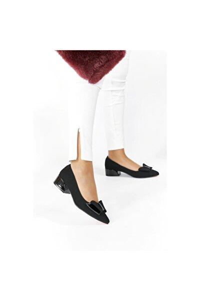 Siyah Nubuk Fiyonklu Klasik Kadın Ayakkabı Kısa Topuk