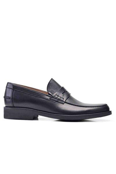 Erkek  Siyah Hakiki Deri Klasik Loafer Ayakkabı