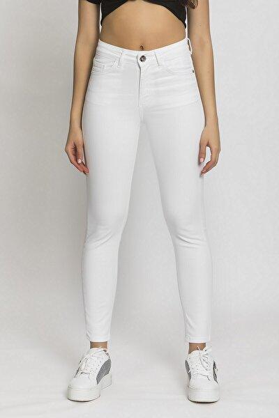 Kadın Beyaz Yüksek Bel Slimfit Jean
