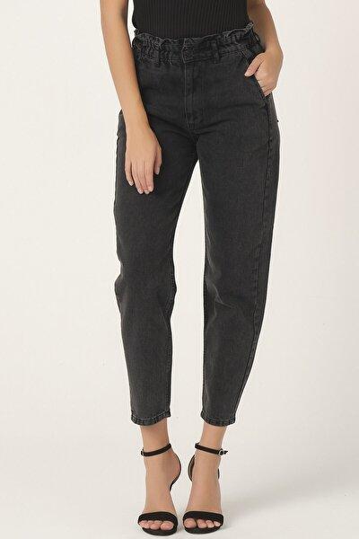 Kadın Füme Renk Beli Lastikli Balon Jean
