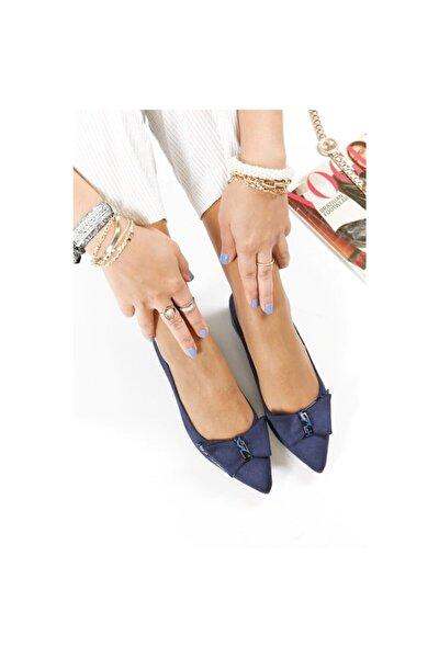 Lacivert Lüx Süet Fiyonklu Klasik Kadın Ayakkabı Kısa Topuk