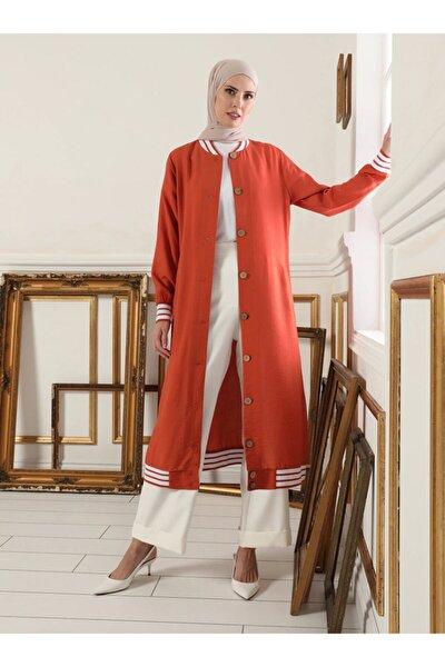 Düğme Detaylı Cepli Spor Elbise - Kiremit -