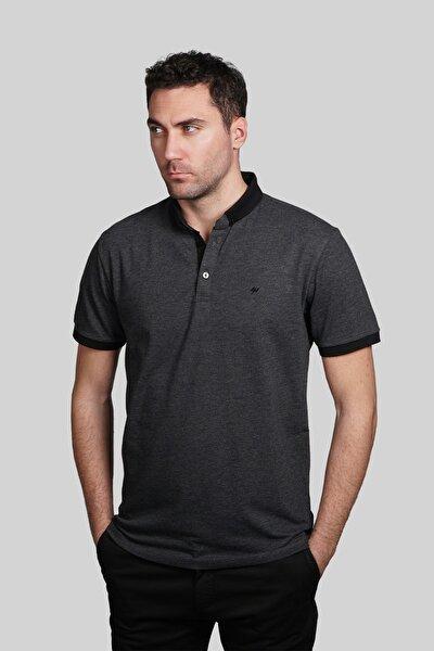 Erkek Antrasit Slim Fit Polo Yaka T-shirt