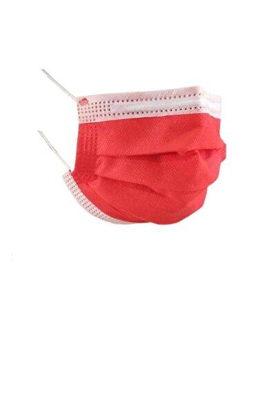 3 Katlı Kırmızı Cerrahi Maske 100 Adet