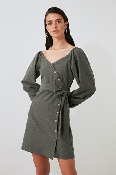 Haki Kuşaklı Düğme Detaylı Elbise TWOAW21EL1641