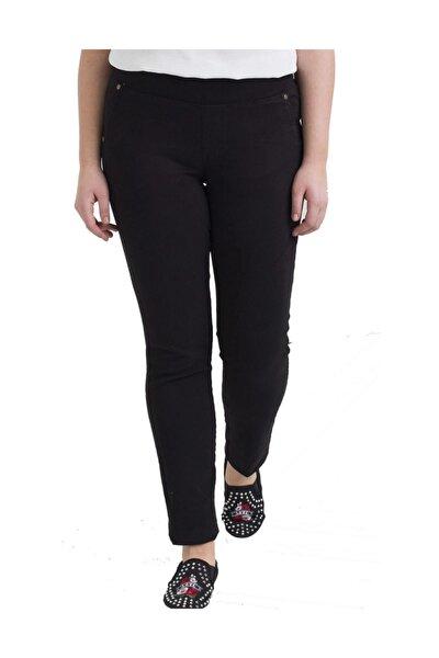 Kadın Siyah Kanvas Yüksek Bel Düz Paça Pantolon Rg1330