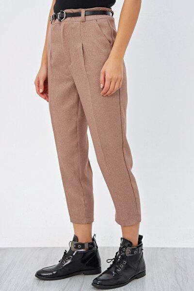 Kadın Camel Pileli Kemerli Pantolon