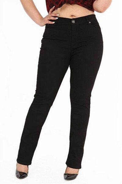Kadın Siyah Kanvas Yüksek Bel Düz Paça Pantolon Rg1029p