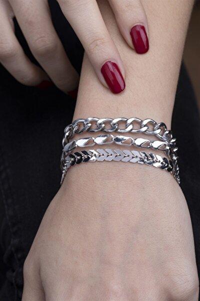 Kadın Gümüş Rengi 3'lü Kombin Bileklik 125