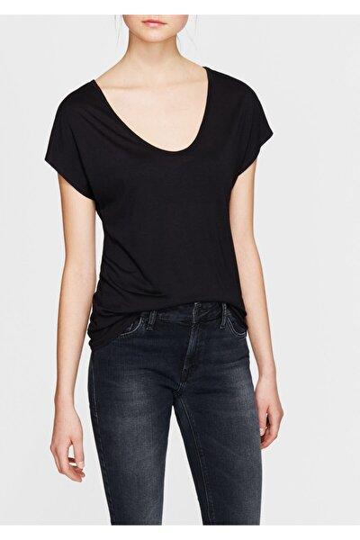 Kadın V Yaka Siyah Basic T-Shirt