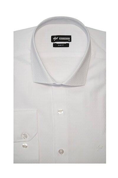 Erkek Beyaz Slim Fit Klasik Gömlek