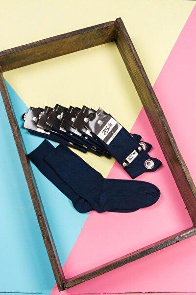 Erkek Lacivert Pamuklu Dikişsiz 4 Mevsim Düz Çorap 6 Lı