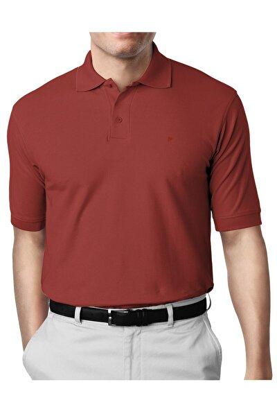 Erkek Kiremit Modern Fit Polo Yaka T-shirt
