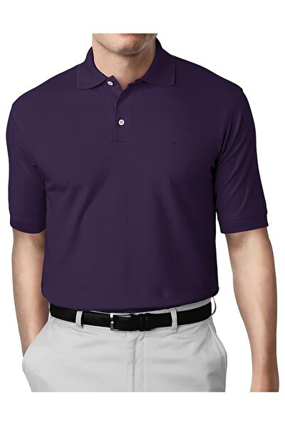 Erkek Mor Modern Fit Polo Yaka T-shirt