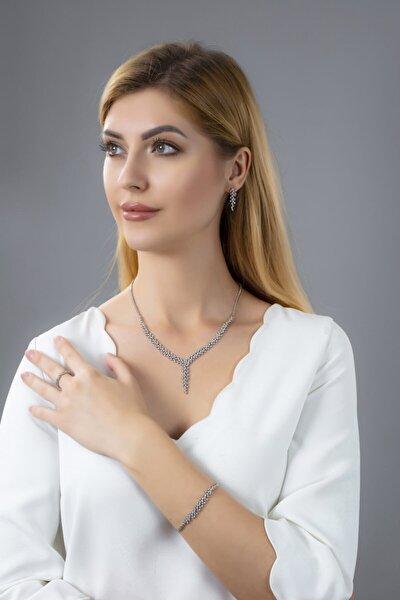 Kadın 925 Ayar Gümüş Salkım Pırlanta Montür Su Yolu Düğün Seti
