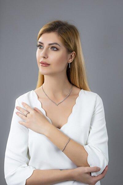 Kadın 925 Ayar Gümüş Pırlanta Montür Su Yolu Düğün Seti