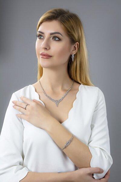 Kadın 925 Ayar Gümüş Mekik Pırlanta Montür Su Yolu Düğün Set