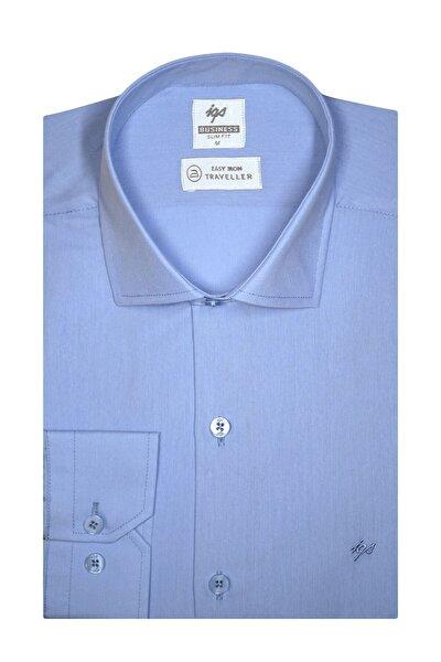 Erkek Mavi Slım Fıt Dar Kalıp Std Gömlek