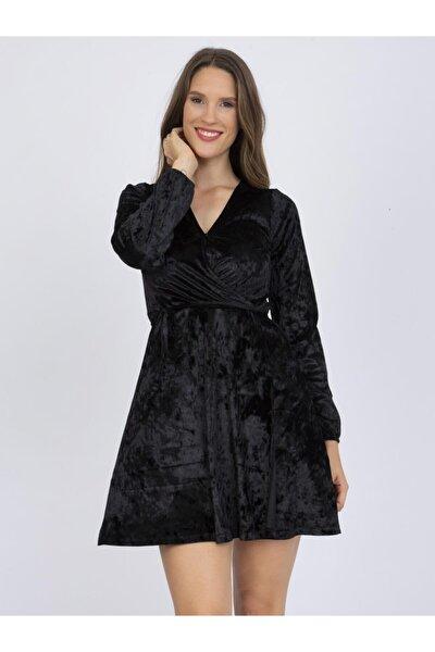 Kadın Siyah V Yaka Kadife Elbise Sı8941220