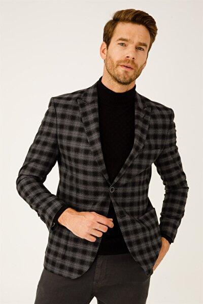 Erkek Gri Slım Fıt Dar Kalıp 9cm Kırlangıç Ceket