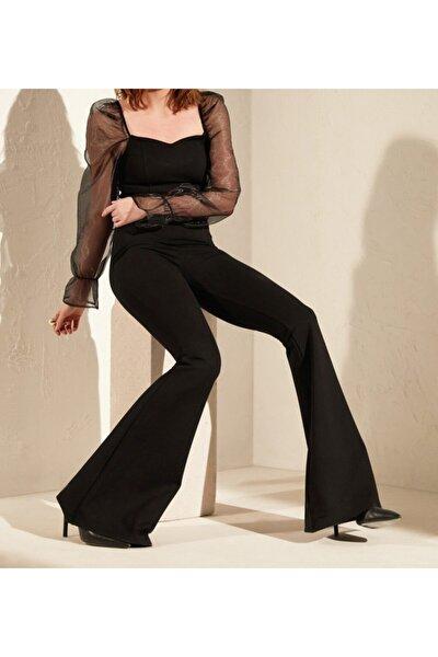 Kadın Siyah Çelik Interlok Yüksek Bel Ispanyol Paça Tayt Pantolon 402