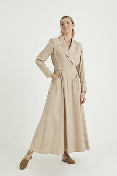 Kadın  Krem Doğal Kumaşlı Kruvaze  Elbise
