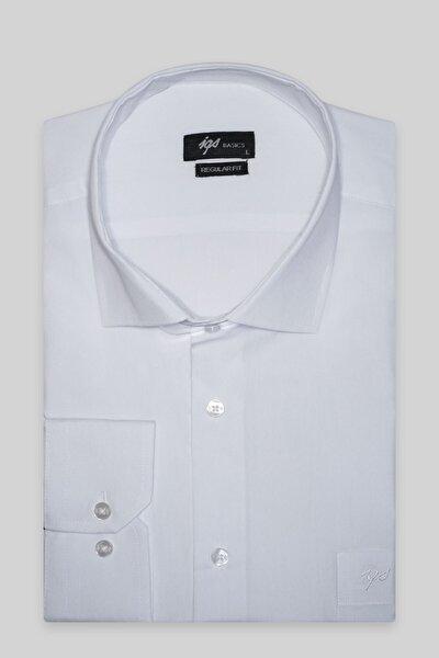 Erkek Beyaz Regularfıt  Rahat Kalıp  Klasik Gömlek