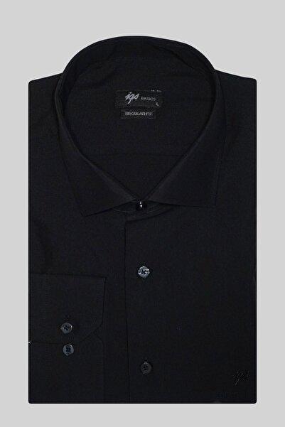Erkek Siyah Slım Fıt Dar Kalıp Klasik Gömlek
