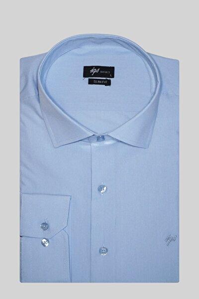 Erkek Mavi Slım Fıt Dar Kalıp Klasik Gömlek