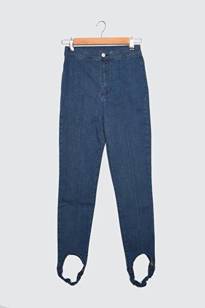 Lacivert Paça Lastikli Yüksek Bel Skinny Jeans TWOAW21JE0545