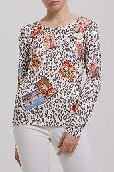 Kadın Turuncu Leopar Arma Baskılı T-shirt