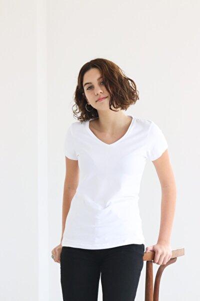 Kadın Basic Kısa Kol Beyaz V Yaka T-shirt