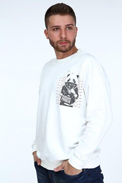 Erkek Ekru Panda Baskılı Oversize Sweatshirt