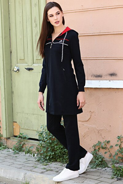 Kadın Lacivert Kapüşonlu Çizgili Tesettür Tunik Takım 95131