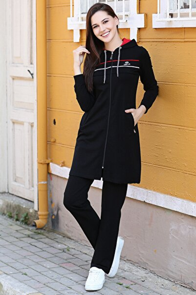 Kadın Siyah Kapüşonlu Çizgili  Tesettür Tunik Takım 95131_1
