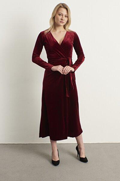 Kadın Bordo Kruvaze Yaka Kadife Elbise