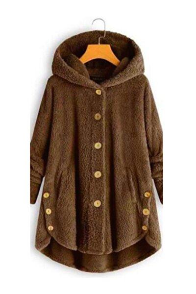 Kadın Kahverengi Düğme Detay Kapüşonlu Wellsoft Ceket