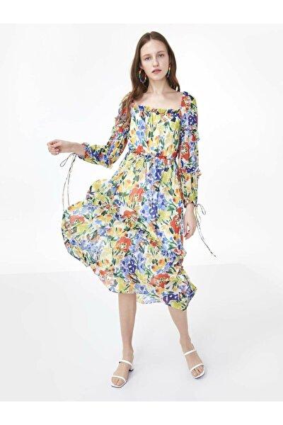 Kadın Beyaz Fırfır Şeritli Çiçek Desen Elbise TS1200002490096