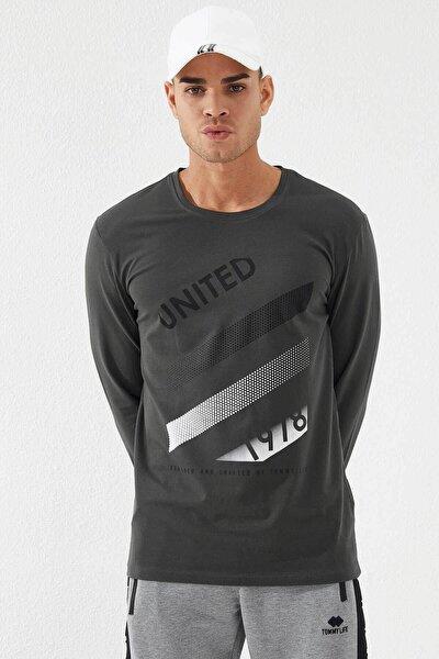 Erkek Haki O Yaka United Baskılı Sweatshirt