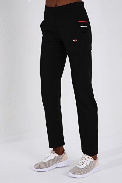 Kadın Klasik Cep Üç Çizgili Siyah Eşofman Alt