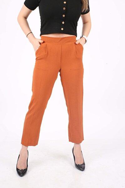 Kadın Turuncu Aerobin Sade Beli Lastikli Pantolon