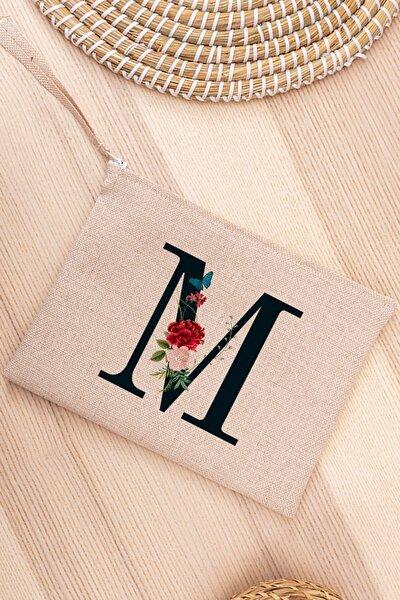 M Harfi Çiçek Tasarım Keten Bez El Çantası