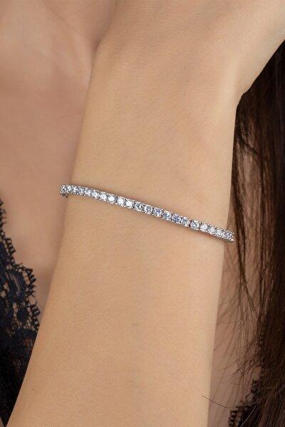 Kadın Gümüş Pırlanta Modeli Aşk Yolu  Bileklik