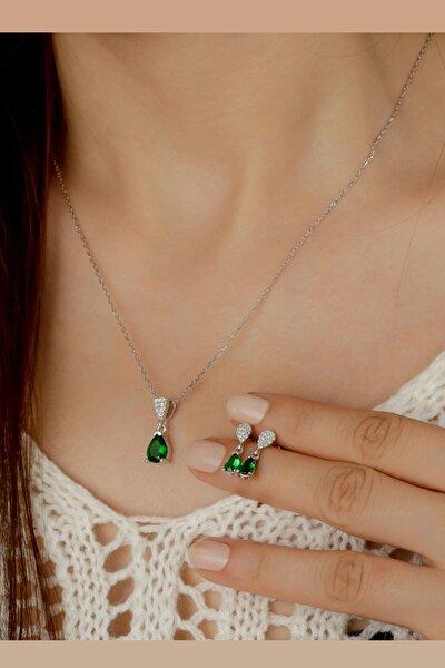Kadın Yeşil Damla Küpe Kolye Gümüş Set