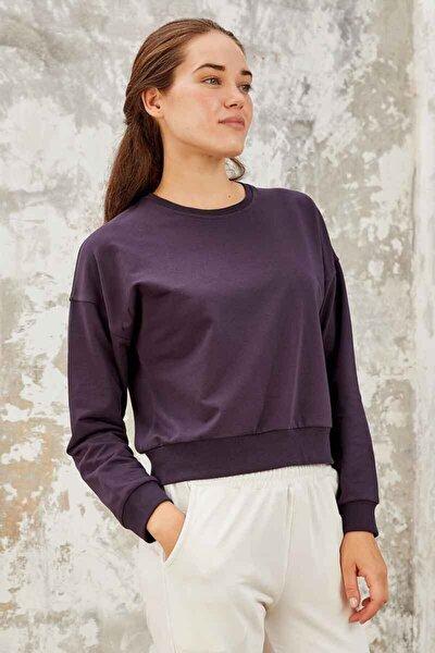 Kadın Mor Klasik O Yaka Sweatshirt