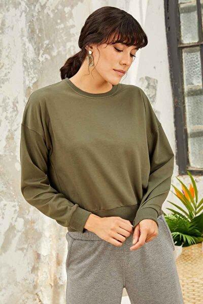 Kadın Haki Klasik O Yaka Sweatshirt