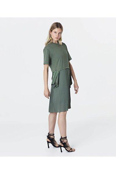 Kadın Haki Kumaş Mixli Sweat Elbise