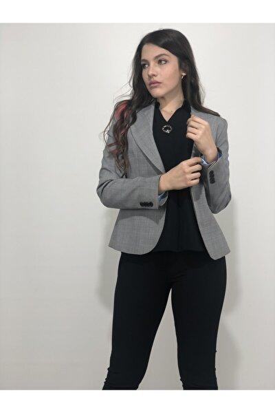 Kadın Gri Karelli Ceket
