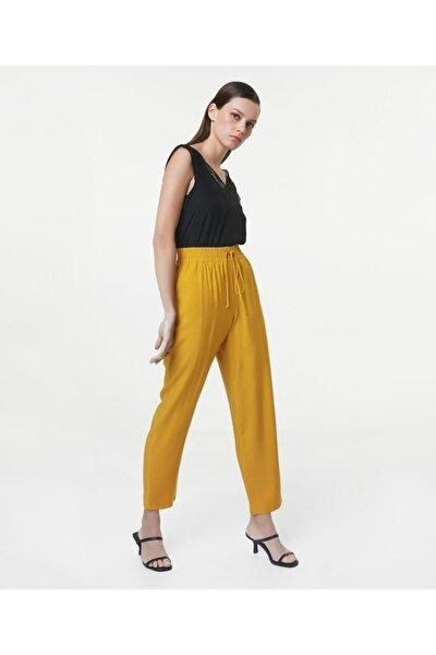 Kadın Hardal Lastik Bel Pantolon IS1200003179024