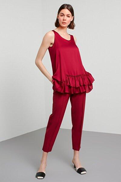 Kadın Mor Eteği Fırfır Detaylı İpek Bluz MS1200006073049